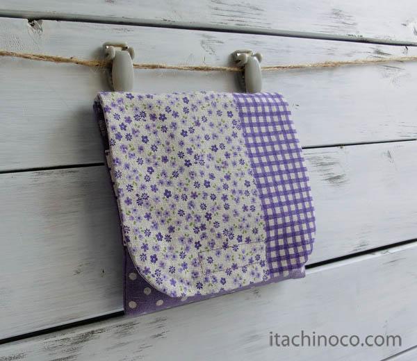 外付けポケット ミニ 紫パッチ小花チェック
