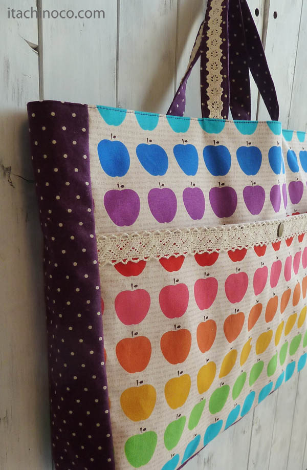 レッスンバッグと上履き袋 リンゴとグレープドット
