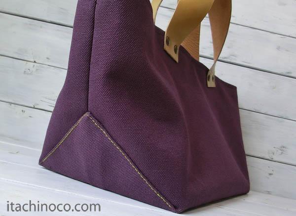 紫帆布トートバッグ1