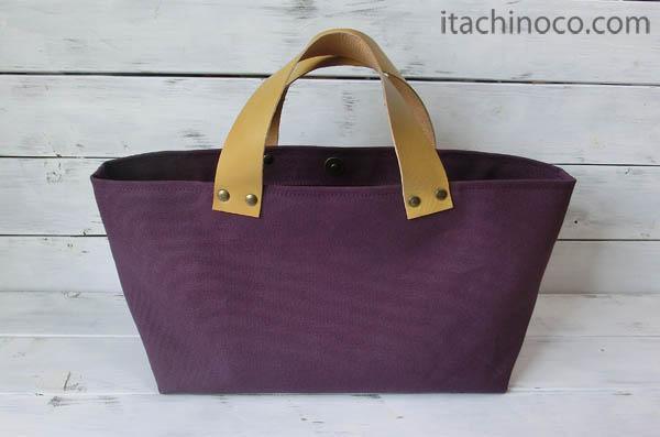 紫帆布トートバッグ2