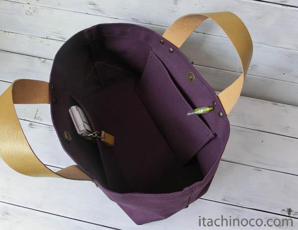 紫帆布トートバッグ3