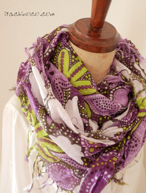 紫とキミドリの薄いストール