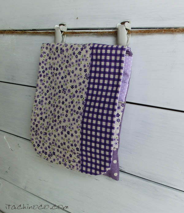 外付けポケット 紫パッチワークプリント 小花×チェック