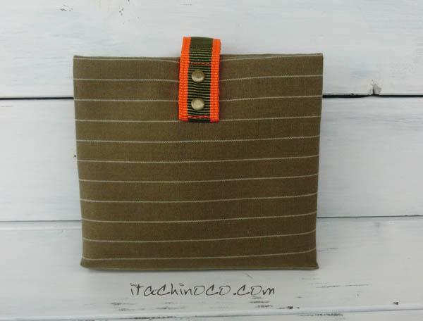携帯ティッシュケース カーキボーダー