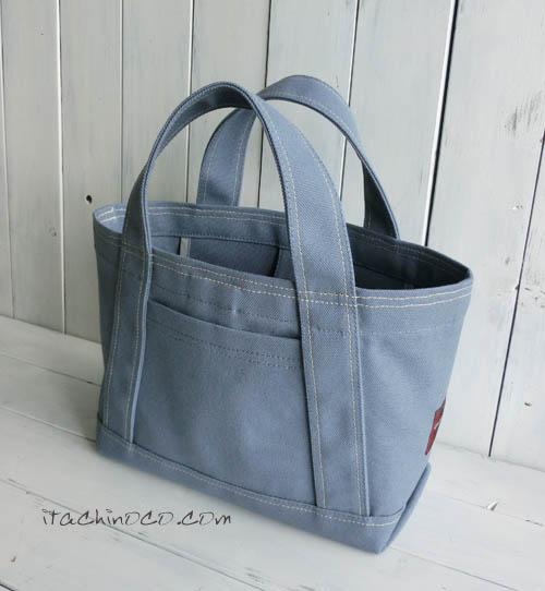 帆布ブルーグレーミニトートバッグ2