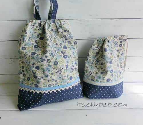 水色と紺色の花柄巾着袋