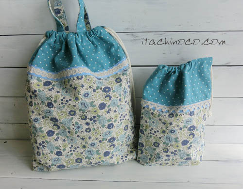 水色と紺色の花柄巾着袋2