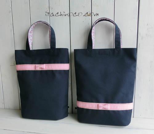 ピンクリボンの紺色斜めかけバッグと鍵盤ハーモニカ袋5