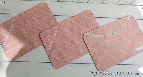 小花 ドットキミドリのパッチワーク風柄とピンクのリボン入園グッズ8
