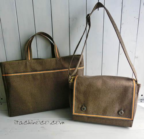 カラシ色とこげ茶色のレッスンバッグと斜め掛け通園バッグ