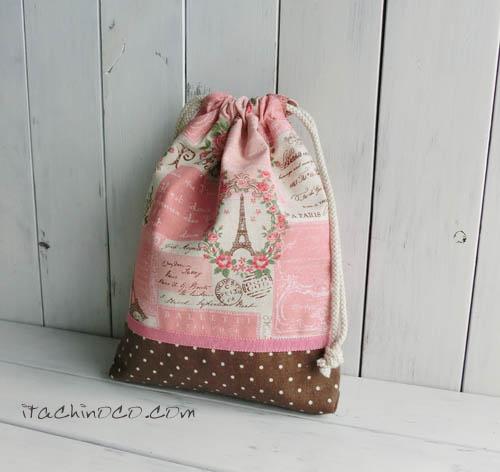 ピンクのフランス柄 巾着袋