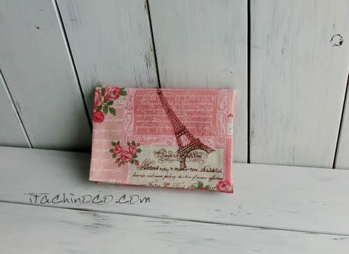 ピンクのフランス柄 ポケットティッシュケース