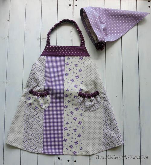 ベビーキッズエプロン3点セット 紫 花柄ドットギンガムチェック1