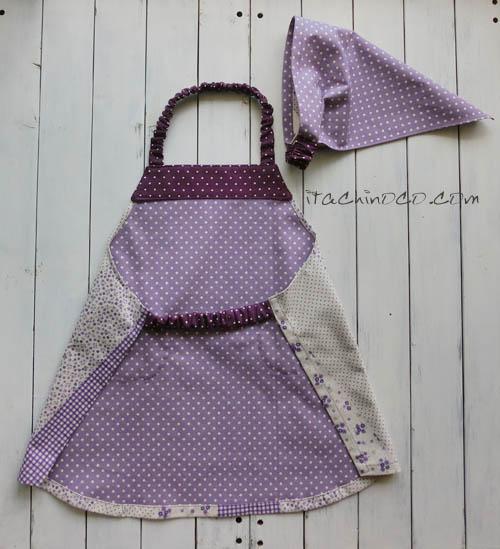 ベビーキッズエプロン3点セット 紫 花柄ドットギンガムチェック2