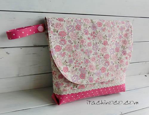 ピンク小花柄のお弁当袋