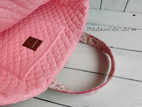 小花柄とラズベリーピンクドットのキルティング入り絵本バッグ2