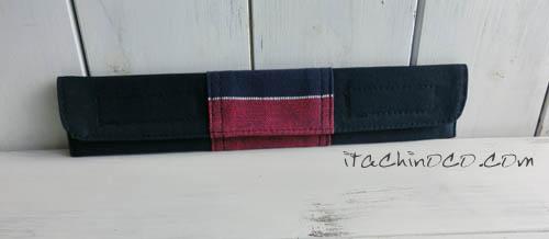 ネイビーとレッドストライプ布製箸袋