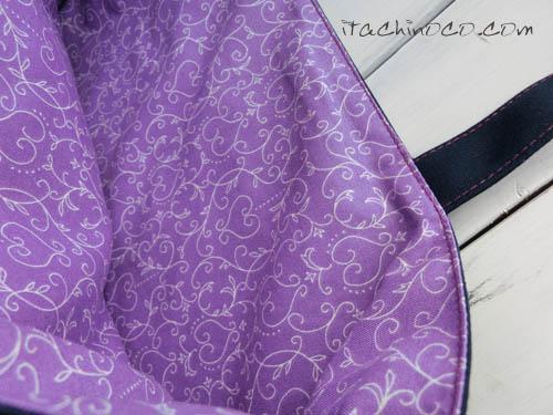 紫ハート柄 手さげかばん 入学
