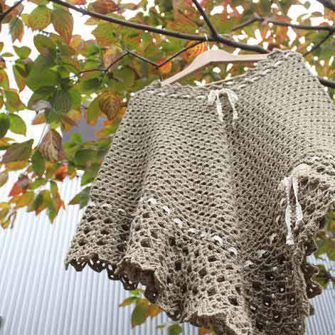 ポンチョ 手編み ニット