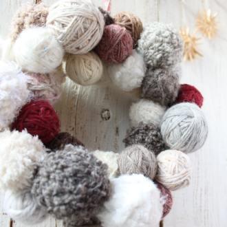 リース 毛糸だま クリスマス