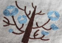 チェーンステッチ 手刺繍 リネン