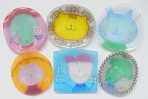 水吉郁子*アート絵皿「顔のお皿」