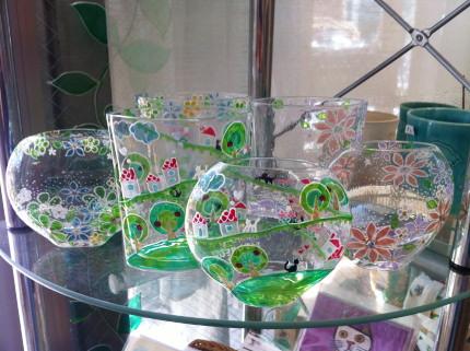 小川えいこ グラスペイントアートの花器