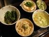 全粒スペルト小麦入り玄米ご飯、春菊のマスタードしょうゆ和え、ゆでソラマメ、三之助ふわふわ豆腐、タマネギとキャベツの味噌汁