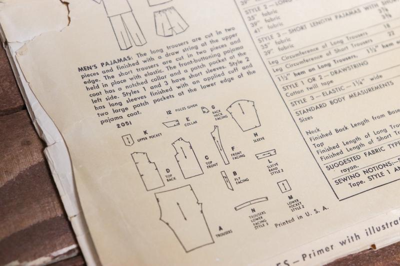 1940年代ヴィンテージメンズウェアーパターン