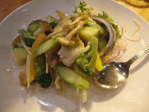 鍋家 鮑と季節野菜塩炒め