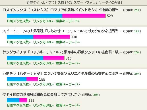 ブログ記事別アクセス数