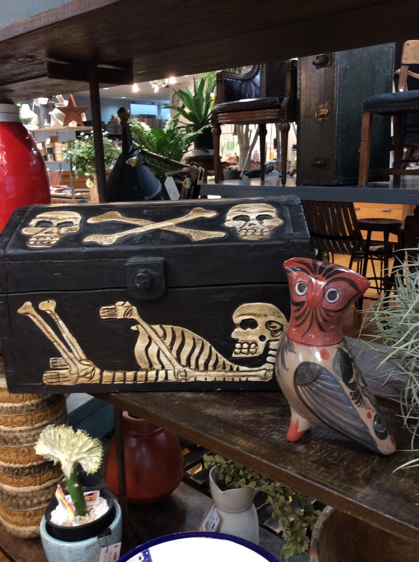 ドクロ 木箱 ボックス フクロウ 置き物