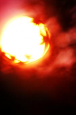 紅葉と夕日