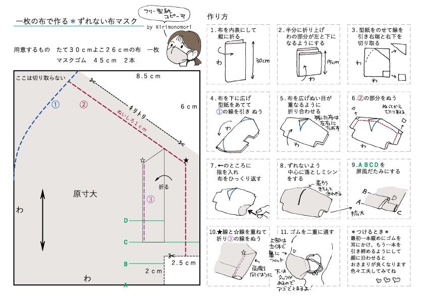 西村大臣マスク 型紙