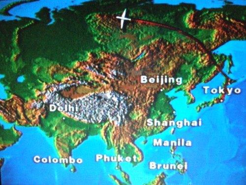 成田空港発(NRT)スカンジナビア航空Scandinavian Airlines - SAS Airbusエアバス A340-313X OY-KBI SK984便デンマークコペンハーゲン空港(CPH)行き。個人用液晶画面に映し出されるナビゲーターによればロシア上空中央シベリア高原