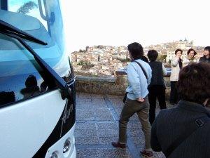 スペインマドリードマドリッドから世界遺産トレド(世界自然遺産)。Toledoトレド旧市街を見下ろす展望台