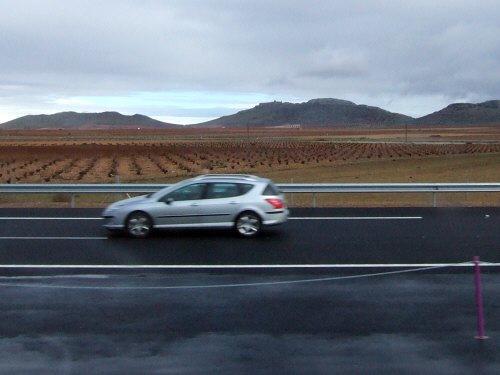 世界遺産トレド(世界自然遺産)Toledoトレドからラマンチャ地方・コンスエグラへ高速道路沿いに広がる葡萄畑ブドウ畑