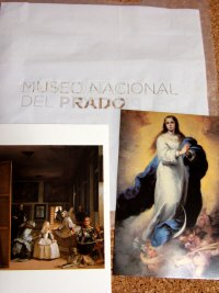 Espana España(エスパーニャ)SPAIN MADRIDマドリッドマドリードプラド美術館Museo del Pradoミュージアムショップで買った絵はがきベラスケスの「ラス・メニーナス」とムリーリョ「無原罪の御宿り」?