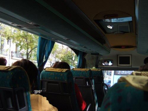 Espana España(エスパーニャ)SPAIN MADRIDマドリッドマドリードプラド美術館前を出発するツアーバス