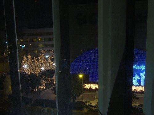 España(エスパーニャ)SPAINフラメンコの本場セビリヤへSEVILLAセビリアセビージャセビーリャホテルメリア・レブレロス(Melia Lebreros)外の景色イルミネーションきれいな夜景クリスマスイルミネーション