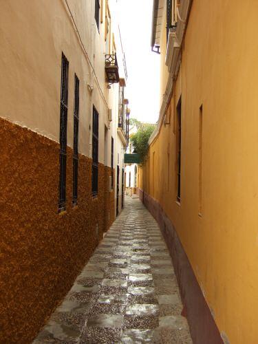 España(エスパーニャ)SPAINフラメンコの本場セビリヤへSEVILLAセビリアセビージャセビーリャサンタ・クルス街Barrio de Santa Cruz旧市街ユダヤ人街パティオ風な広場中庭細い路地入りくんだ小道狭い道