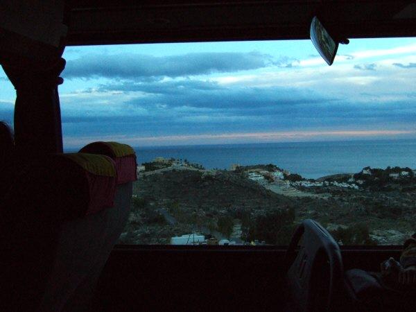 エスパーニャSPAINアンダルシア地方グラナダからバレンシア地方バレンシア高速道路E15号から見た地中海