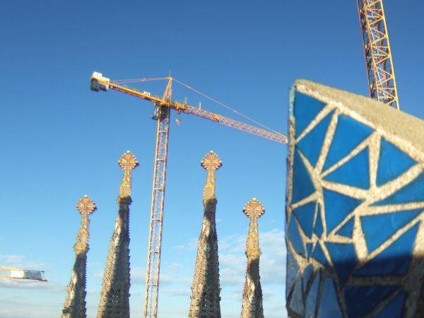 エスパーニャSPAINカタルーニャ地方・バルセロナ市街地の風景サグラダ・ファミリア(聖家族教会)サクラダファミリアtemplo de la Sagrada Familiaアントニオ・ガウディ建設現場