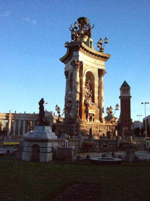 エスパーニャSPAINカタルーニャ地方・バルセロナ市街地の風景スペイン広場Placa de Espanya