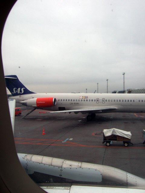 コペンハーゲン国際空港ターミナル2フィンガーAA22ゲートScandinavian Airlines MD-81(LN-ROM)