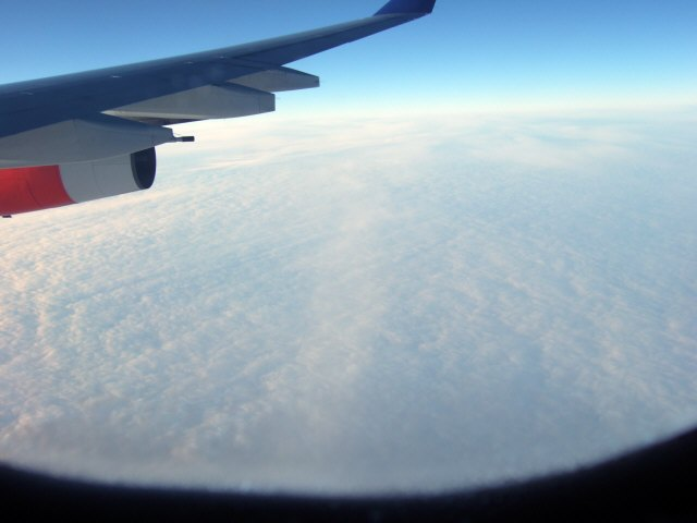 SASスカンジナビアエアラインSK983便エアバスA340 LN-RKGロシアハバロフスク上空空から見たハバロフスク