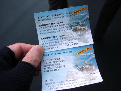 スイス・ユングフラウヨッホ観光ラウターブルネンLauterbrunnenBOB登山鉄道WAB登山鉄道切符チケットキップ