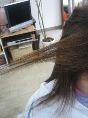 根元から減らした髪