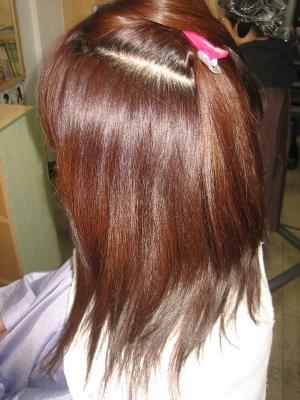 美容院 ストレートパーマ 髪の量を減らす ヘアカラー