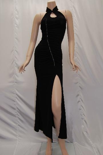 深スリットチャイナ風ブラックロングドレス